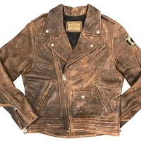 Blouson cuir Warson Motors Patrol Officer Marron