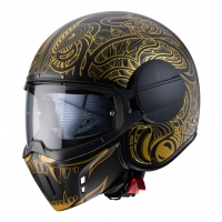 Casque Jet Caberg Ghost Maori Noir Mat / Or