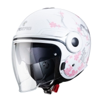 Casque Jet Caberg Uptown Bloom Blanc/Silver/Rose