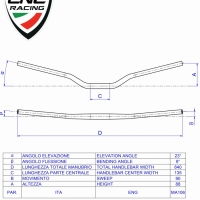 Guidon Section Variable CNC Racing 22mm / 28.6mm 8°C d'angle