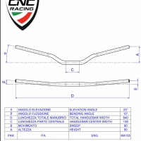 Guidon Section Variable Position Standard CNC Racing 22mm / 28.6mm 15°C d'angle